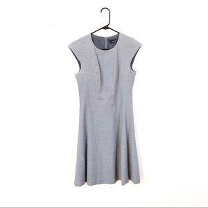 Theory Light Gray Wool Career Cap Sleeve Dress 2
